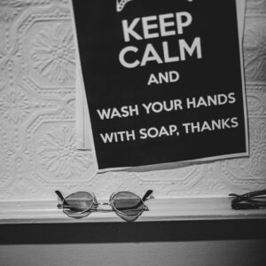 Keep Calm and wash your hands with soap poster